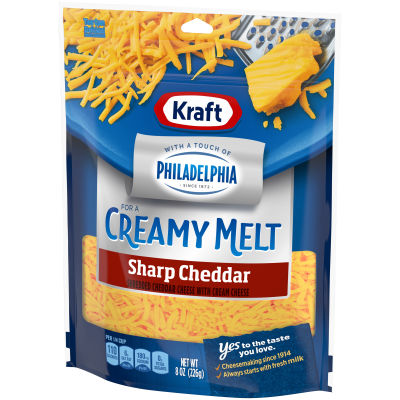 Kraft Shredded Sharp Cheddar Cheese with a Touch of Philadelphia 8 oz Pouch