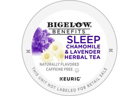 Lid of Bigelow Benefits Sleep Chamomile and Lavender Herbal Tea K-Cup for Keurig