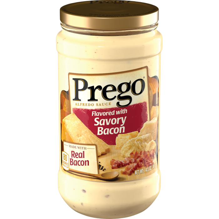 Flavored with Savory Bacon Alfredo Sauce