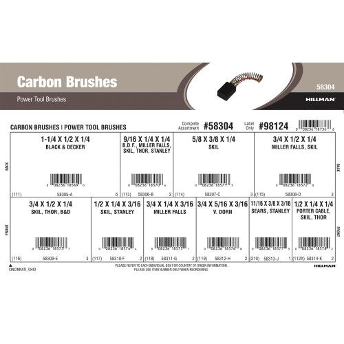 Carbon Brushes Assortment (For B&D, SKIL, Miller Falls, Sears, Thor, Stanley, Van Dorn, Porter Cable Power Tools)