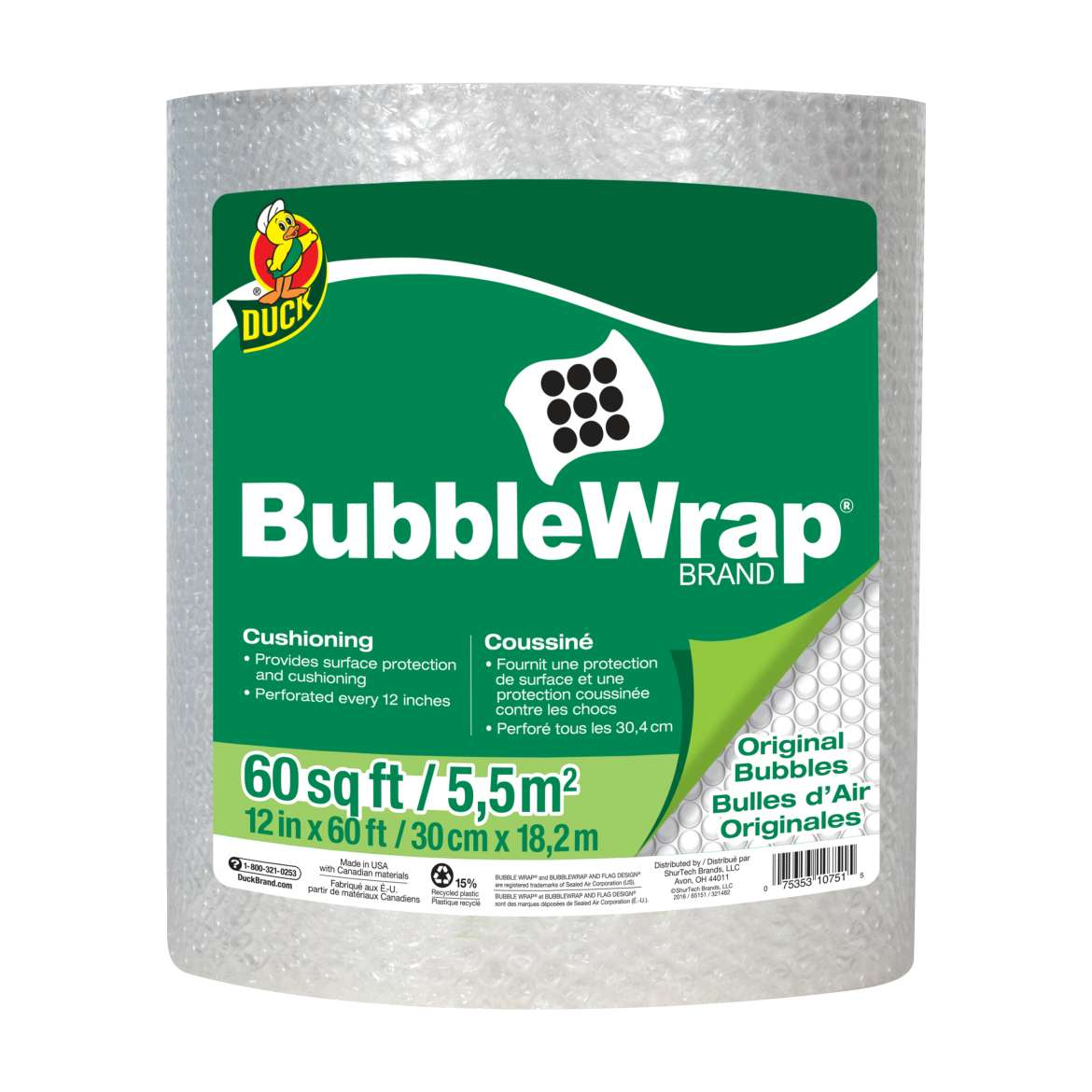 Duck® Brand Original Bubble Wrap® Cushioning - Clear, 12 in. x 60 ft. Image