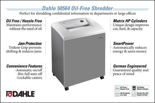 Dahle 50564 Oil Free Department Shredder InfoGraphic