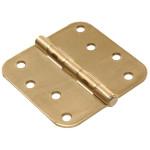 """Hardware Essentials 5/8"""" Round Corner Satin Brass Door Hinges (4"""")"""