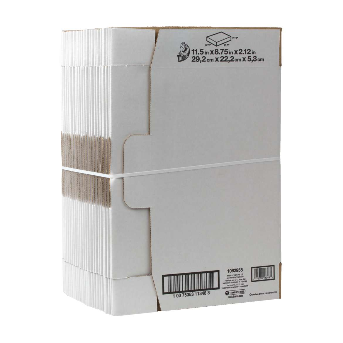 Duck® Brand Self-Locking Mailing Box - White, 25 pk, 11.5 in. x 8.75 in. x 2.1 in. Image