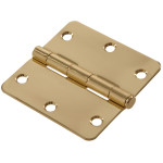 "Hardware Essentials 1/4"" Round Corner Brite Brass Door Hinges (3-1/2"")"
