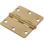 """Hardware Essentials 1/4"""" Round Corner Brite Brass Door Hinges (3-1/2"""")"""