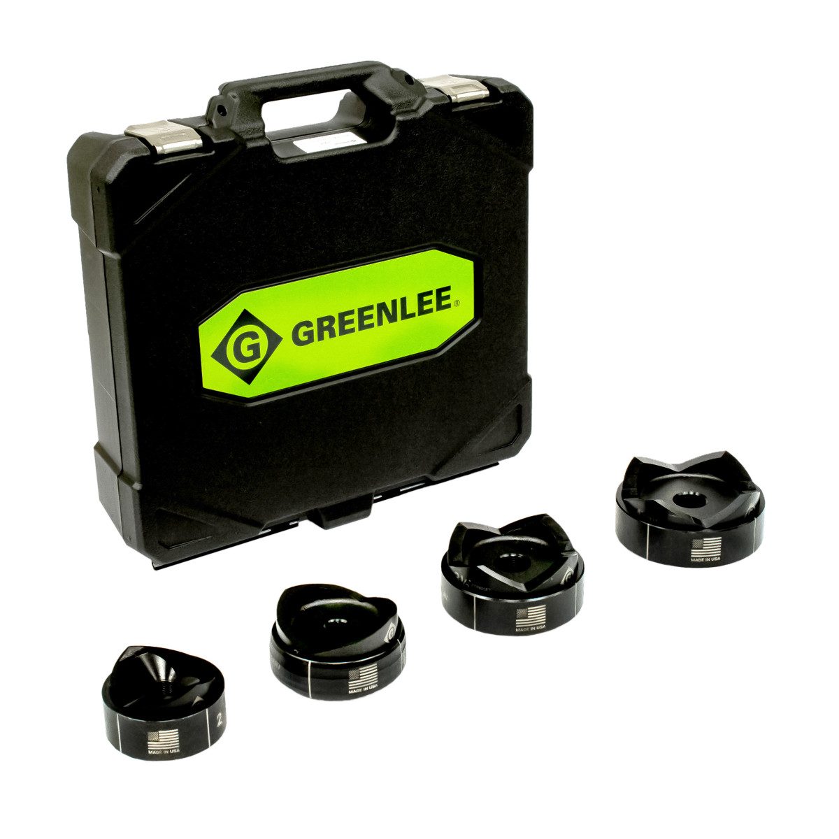 GRT7304 STANDARD PUNCHES AND DIES (NODRAW STUDS) FOR 2-1/2 THROUGH4 CONDUIT,IN PLASTIC CASE, GREENLEE
