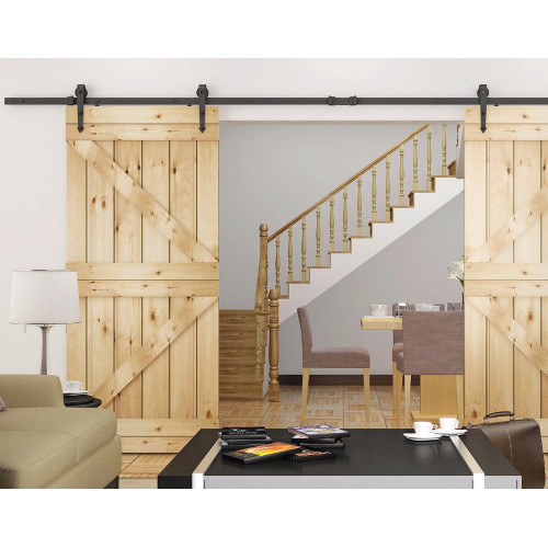 Black Decorative Side Mount Sliding Barn Door Hardware Kit