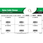 "Natural White Nylon Cable Clamps Assortment (1/4"" thru 1"" Diameter)"