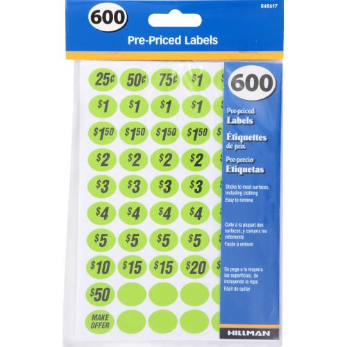 Pre-Priced Garage Sale Labels