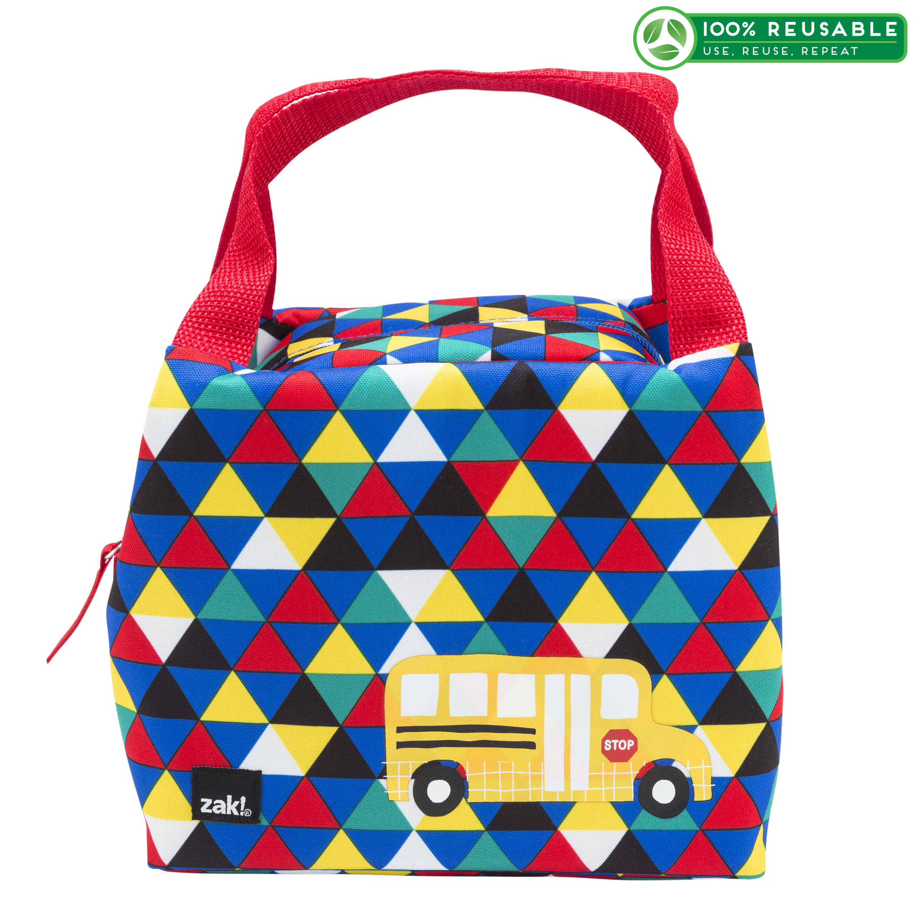 Grid Lock Purse Style Insulated Reusable Lunch Bag, Buses slideshow image 1