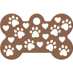 Copper with Paws and Hearts Small Bone Quick-Tag