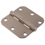 "Hardware Essentials 5/8"" Round Corner Satin Nickel Door Hinges (3-1/2"")"