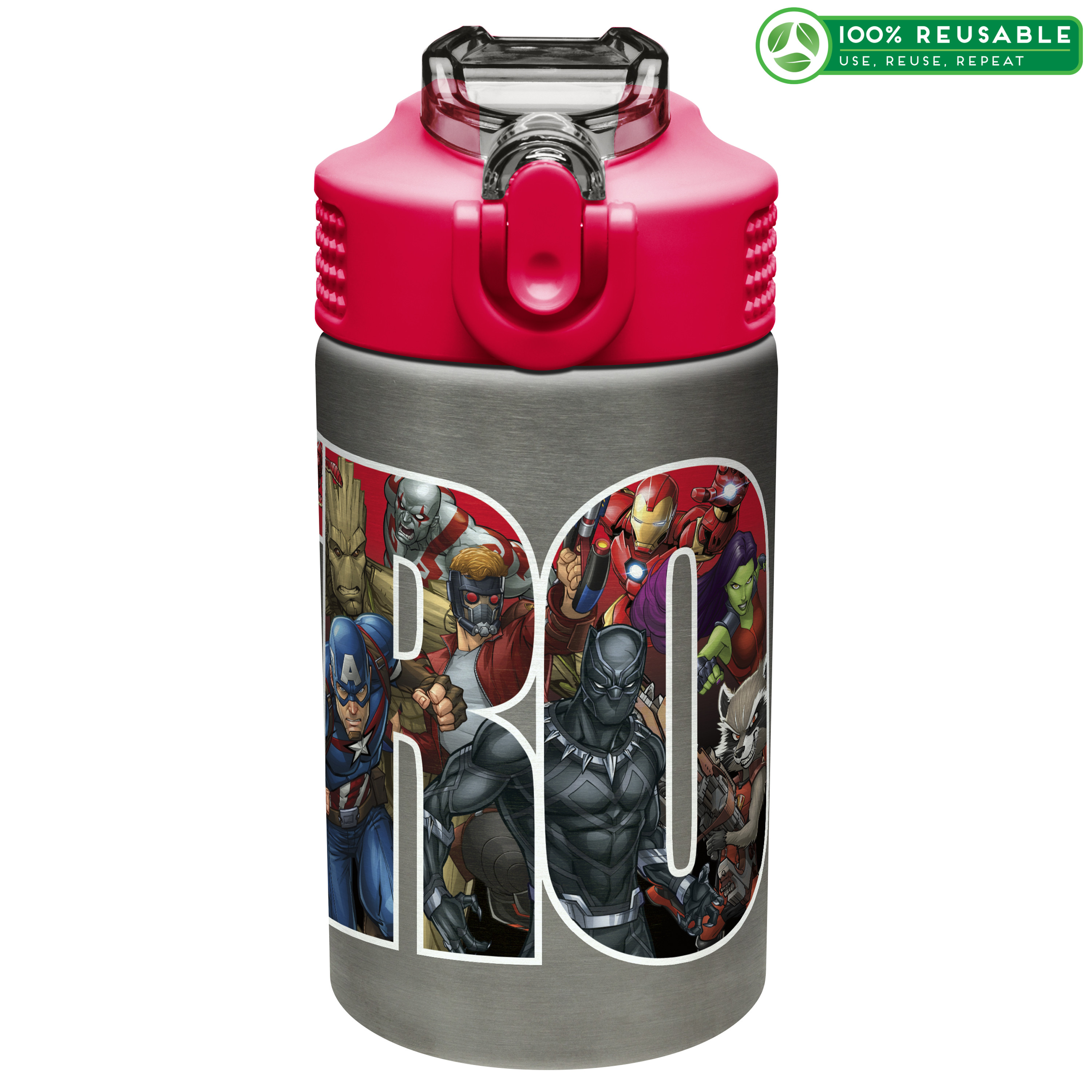 Marvel Comics 15.5 ounce Water Bottle, Black Panther, Captain America, Spider-Man & The Hulk slideshow image 1