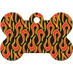 Black with Flames Large Bone Quick-Tag