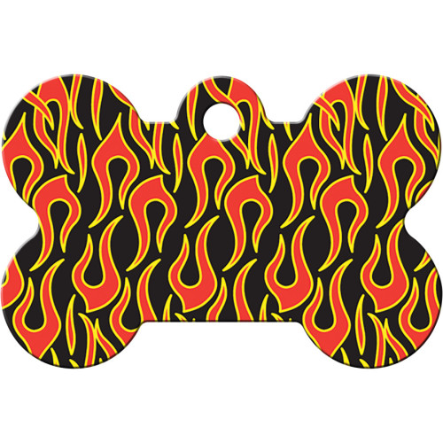 Black with Flames Large Bone Quick-Tag 5 Pack