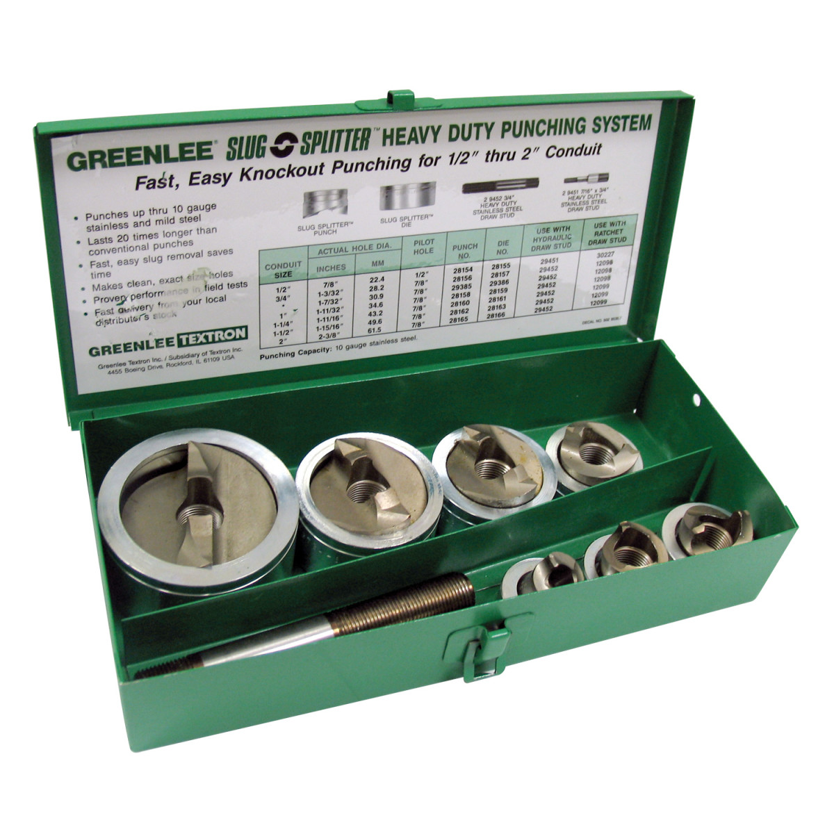 GRT7307 HYDRAULIC KNOCKOUT PUNCH SET, SC, GREENLEE