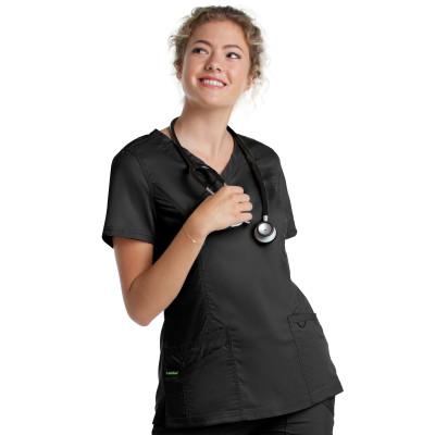 Landau ProFlex Mock Wrap Scrub Top for Women: 3 Pocket, Modern Tailored Fit, Stretch, Medical 4161-