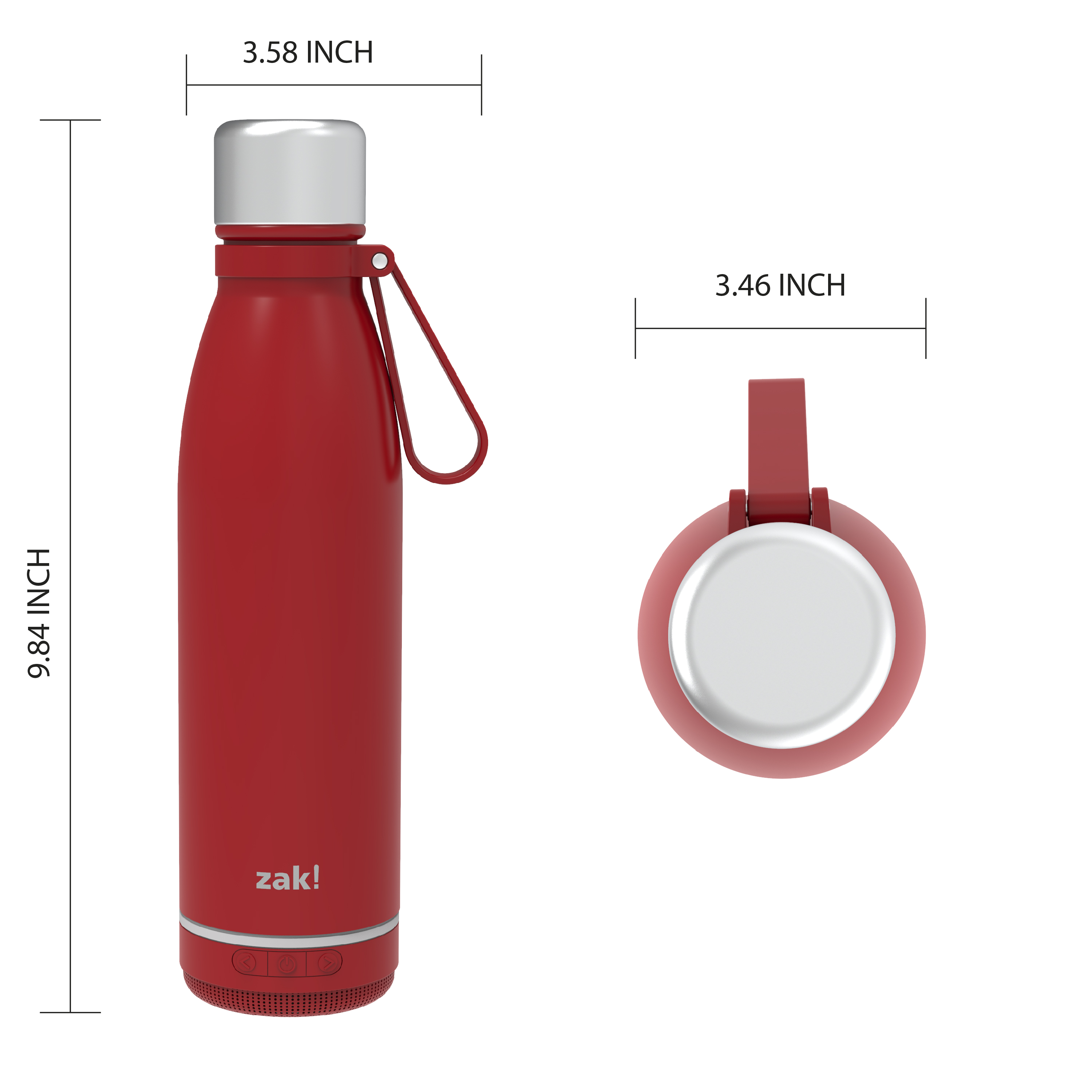 Zak Play 17.5 ounce Stainless Steel Tumbler with Bluetooth Speaker, Red slideshow image 6