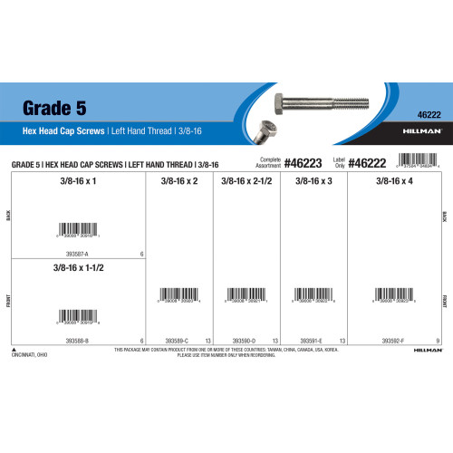 Grade 5 Left Hand-Thread Hex Cap Screws Assortment (3/8
