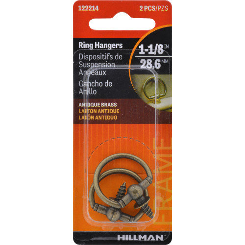 Hillman Antique Brass Decorative 1-1/8 Inch Round Screw Ring