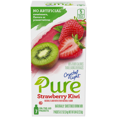 Crystal Light Pure Strawberry Kiwi Drink Mix, 7 - 0.12 oz Packets