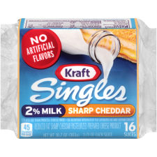 Kraft Singles 2% Milk Reduced Fat Sharp Cheddar Cheese Slices, 10.7 oz (16 slices)