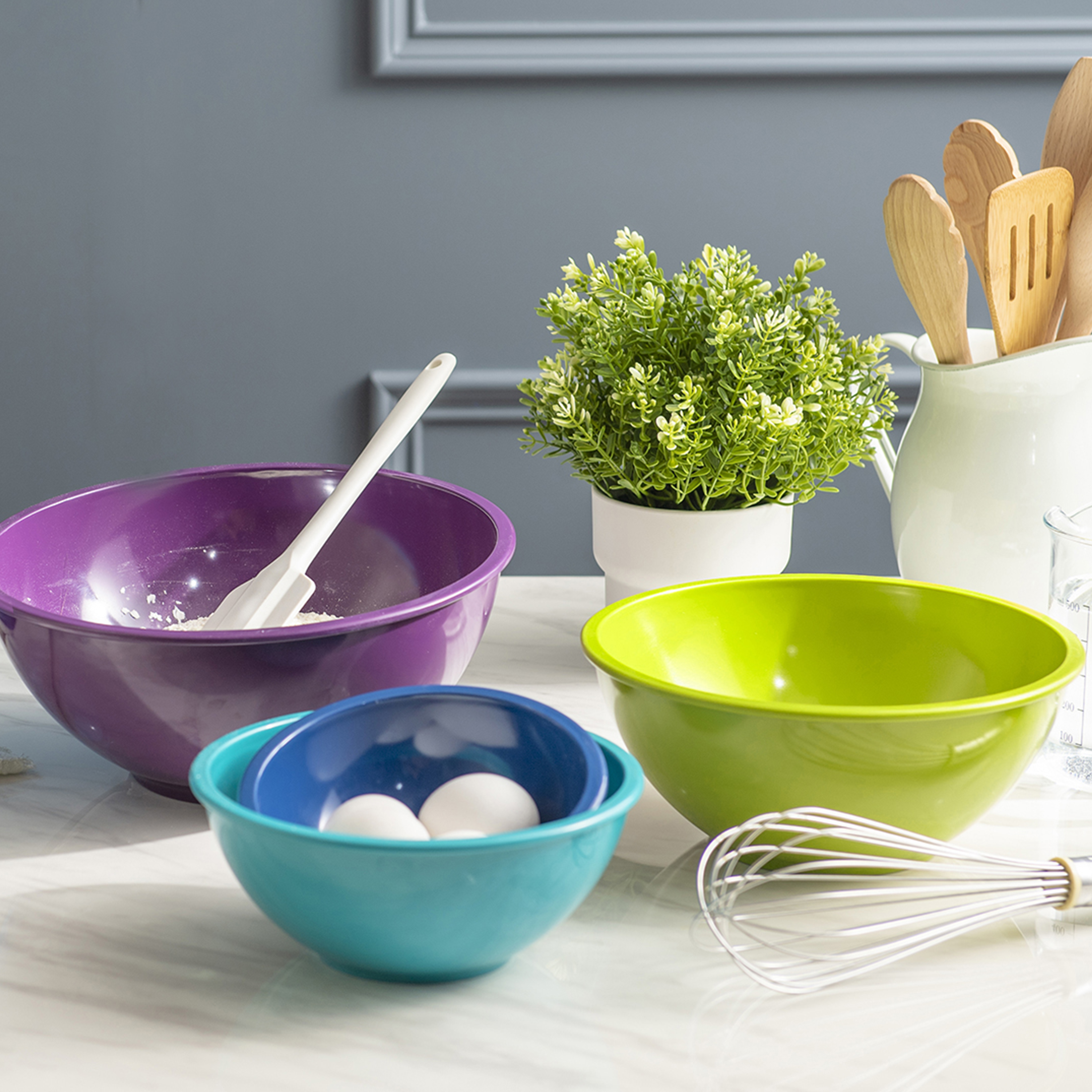 Colorway Plastic Serving and Mixing Bowl Set, Blue and Red, 5-piece set slideshow image 8