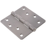 "Hardware Essentials 1/4"" Round Corner Satin Chrome Door Hinges (4"")"