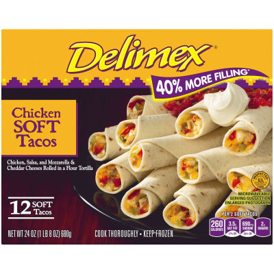 Delimex Chicken Soft Tacos 12 count Box