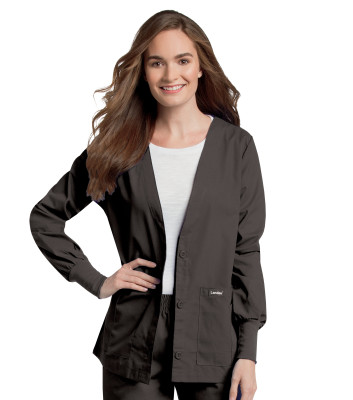 Landau Essentials 5 Pocket Scrub Jacket for Women: Classic Relaxed Fit, V-Neck, Button Down, Knit Cuff 7535-