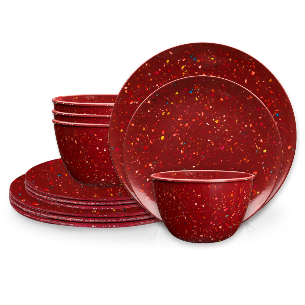 Confetti Dinnerware Set, Brick, 12-piece set slideshow image 2