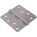"""Hardware Essentials 1/4"""" Round Corner Satin Chrome Door Hinges (4"""")"""