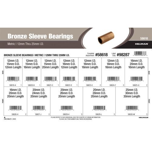 Metric Bronze Sleeve Bearings Assortment (M12 thru M25 Inner Dia.)