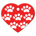 Red with White Paws Large Heart Quick-Tag