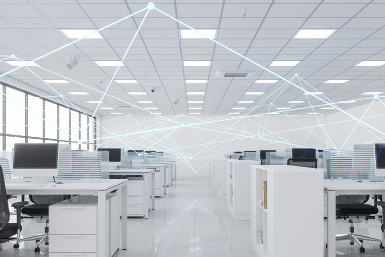 Office with lines showing connections for intelligent controls