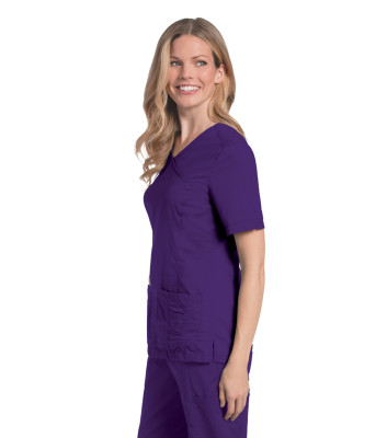 Landau Prewashed 2 Pocket Scrubs for Women: V-Neck Stretch Mock Wrap Medical Scrub Top 4147-