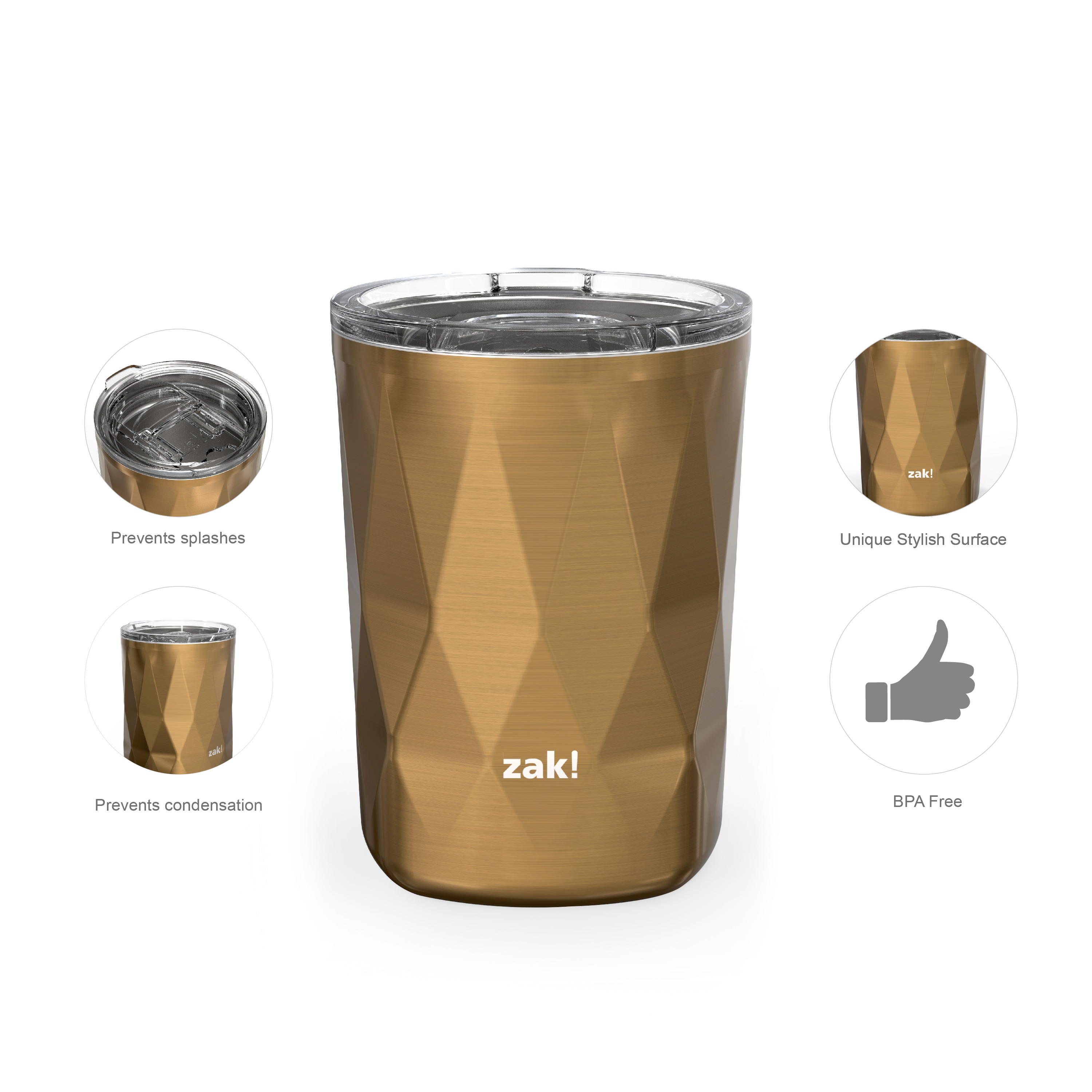 Fractal 13 ounce Vacuum Insulated Stainless Steel Tumbler, Copper slideshow image 3