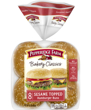 Pepperidge Farm® Sesame Topped Hamburger Buns, split and toasted