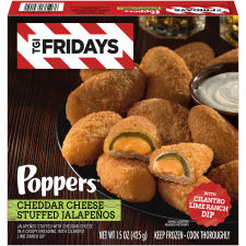TGI Fridays Cheddar Cheese Stuffed Jalapeno Poppers with Cilantro Lime Ranch Dip, 15 oz Box