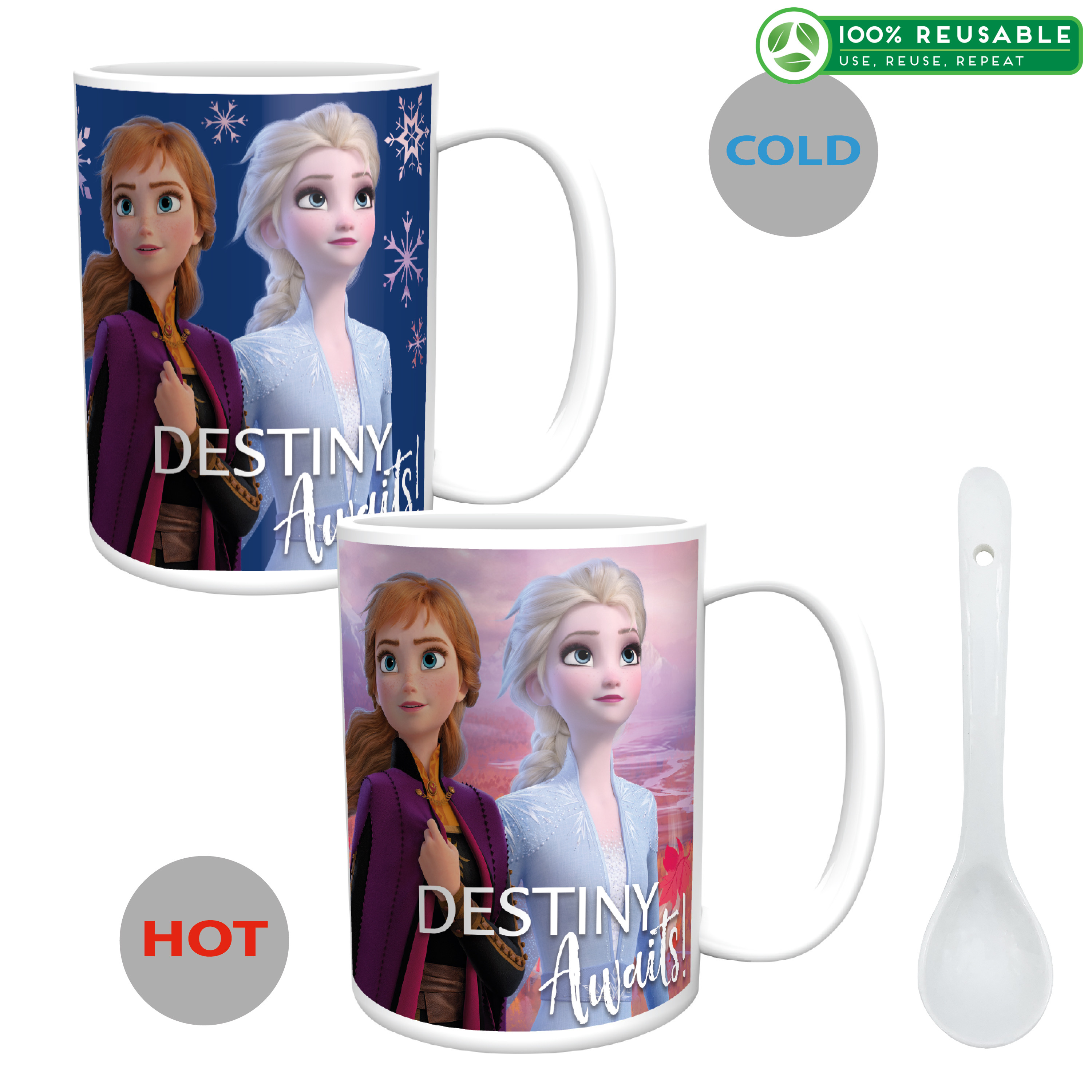 Disney Frozen 2 Movie 15 ounce Coffee Mug and Spoon, Anna, Elsa & Olaf slideshow image 1
