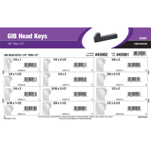 Gib Head Keys Assortment (1/4