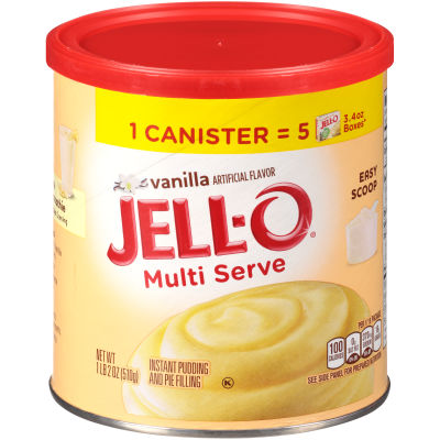 Jell-O Multi Serve Vanilla Instant Pudding & Pie Filling 18 oz Canister
