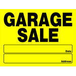 Hillman Garage Sale Sign Date Address