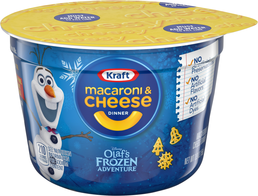 Kraft Olaf's Frozen Adventure Shapes Macaroni & Cheese Dinner 1.9 oz. Microcup image