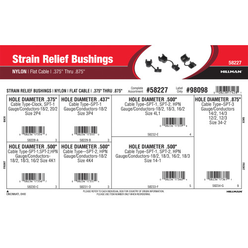 Nylon Strain Relief Bushings Assortment (0.375