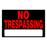 "Adhesive No Trespassing Sign (8"" x 12"")"