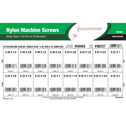 Binder-head Nylon Machine Screws Assortment (#4-40 thru #8-32 Thread Variants)