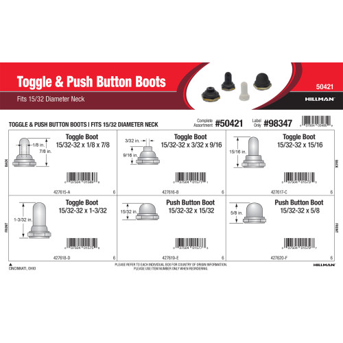 Toggle & Push Button Boots Assortment (Fits 15/32