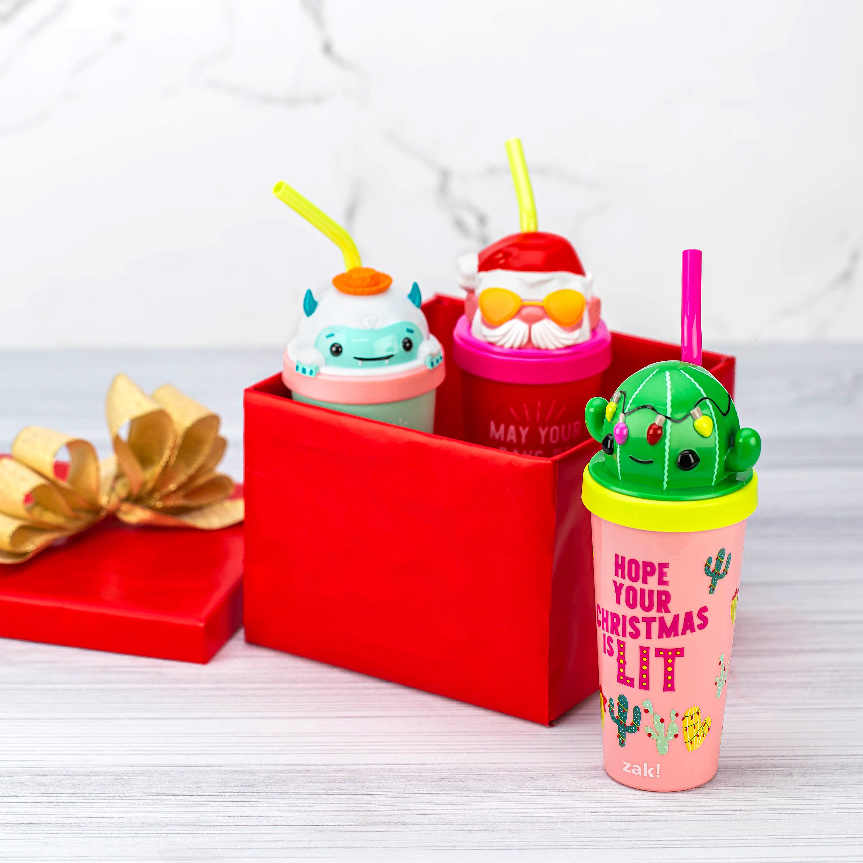 Zak Holiday 18 ounce Reusable Plastic Tumbler, Santa slideshow image 8